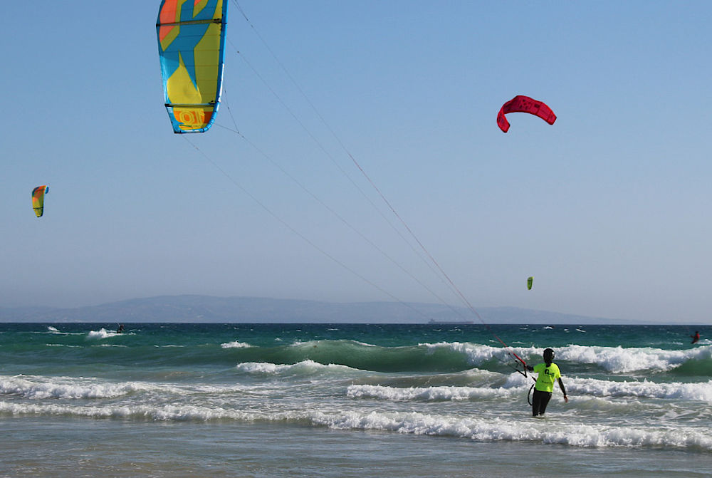 Kitesurfing on the Atlantique Sea in Tarifa