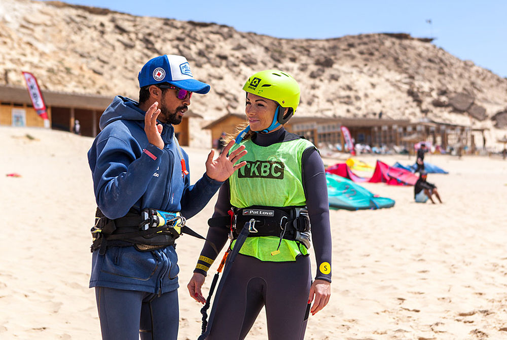 kitesurf instructor and student at KBC Dakhla