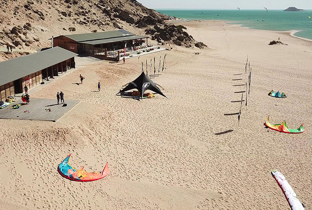 Aerial Kitesurf beach and centre KBC Dakhla