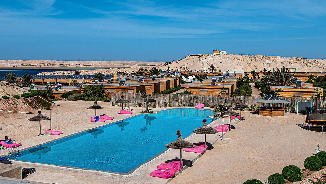 Hotel Dakhla Club directly at the kitespot at the lagoon
